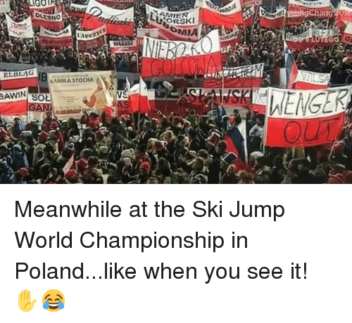 Memes, When You See It, and World: AMIEN  EGO  EL.BIAG  KAMILA STOCHA  AWIN Meanwhile at the Ski Jump World Championship in Poland...like when you see it! ✋😂