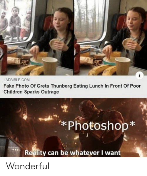 Children, Fake, and Photoshop: Ampar  i  LADBIBLE.COM  Fake Photo Of Greta Thunberg Eating Lunch In Front Of Poor  Children Sparks Outrage  *Photoshop*  Reality can be whatever I want Wonderful