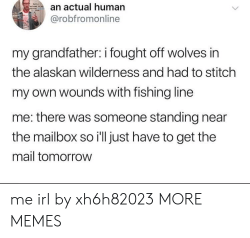 Dank, Memes, and Target: an actual human  @robfromonline  my grandfather: i fought off wolves in  the alaskan wilderness and had to stitch  my own wounds with fishing line  me: there was someone standing near  the mailbox so i'll just have to get the  mail tomorrow me irl by xh6h82023 MORE MEMES