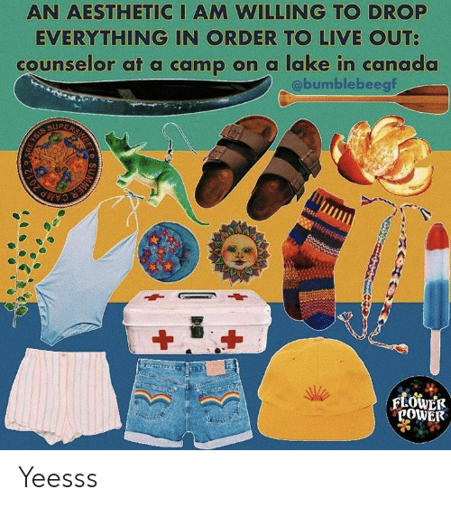 Aesthetic, Canada, and Live: AN AESTHETIC I AM WILLING TO DROP  EVERYTHING IN ORDER TO LIVE OUT  counselor at a camp on a lake in canada  @bumblebeegf  SUPE  POWE Yeesss