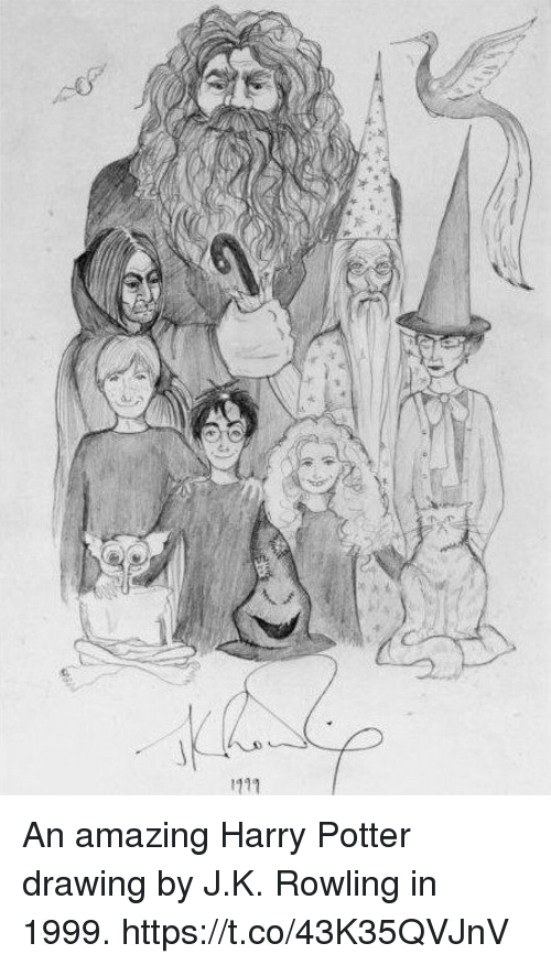 Harry Potter, Memes, and Amazing: An amazing Harry Potter drawing by J.K. Rowling in 1999. https://t.co/43K35QVJnV