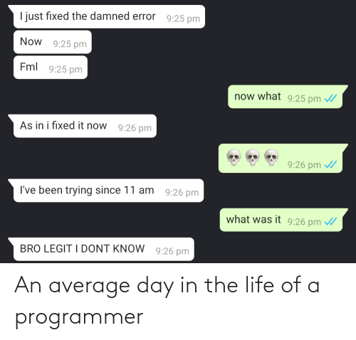 Life: An average day in the life of a programmer