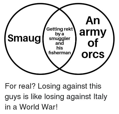 World, Italy, and War: An  Getting rekt  by a  Smaug smuerof  his  fisherman/ Orcs