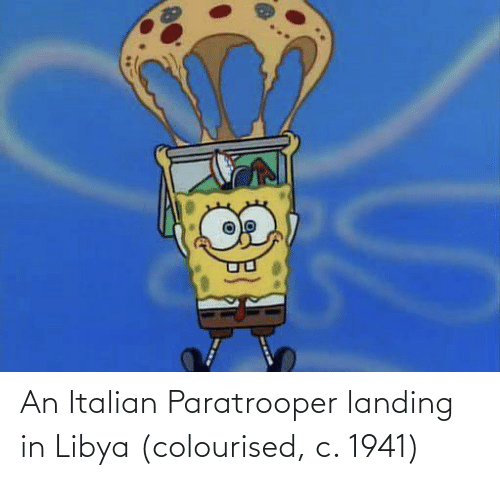 landing: An Italian Paratrooper landing in Libya (colourised, c. 1941)