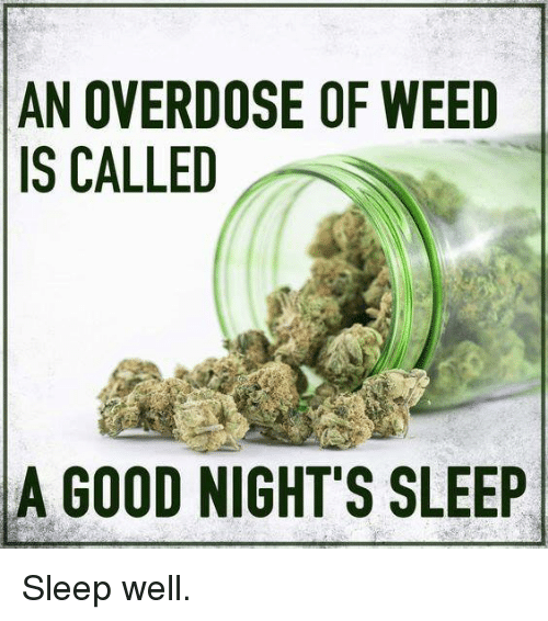 Overdose: AN OVERDOSE OF WEED  IS CALLED  A GOOD NIGHT'S SLEEP Sleep well.