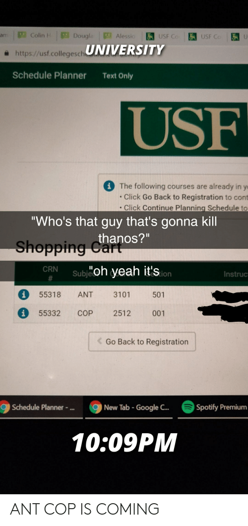 "Click, Funny, and Google: an , p] Colin-  Alessio  UNIVERSITY  Dougl  USF Co USF Co  a https://usf.collegesch  Schedule Planner  Text Only  USF  The following courses are already in y  . Click Go Back to Registration to cont  . Click Continue Planning Schedule to  ""Who's that guy that's gonna kill  thanos?""  Shopping CGa  CRN  oh yeah it'so  Instruc  55318 ANT 3101 501  55332 COP 2512 001  Go Back to Registration  Schedule Planner -..  New Tab - Google C..  Spotify Premium  10:09PM ANT COP IS COMING"