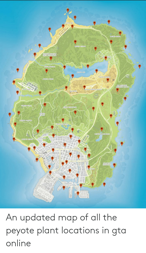 Locations: An updated map of all the peyote plant locations in gta online