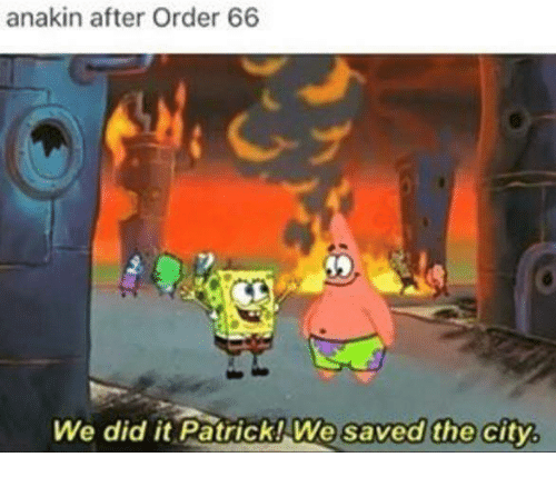 Dank, Citi, and 🤖: anakin after Order 66  We did it Patrick We saved the city