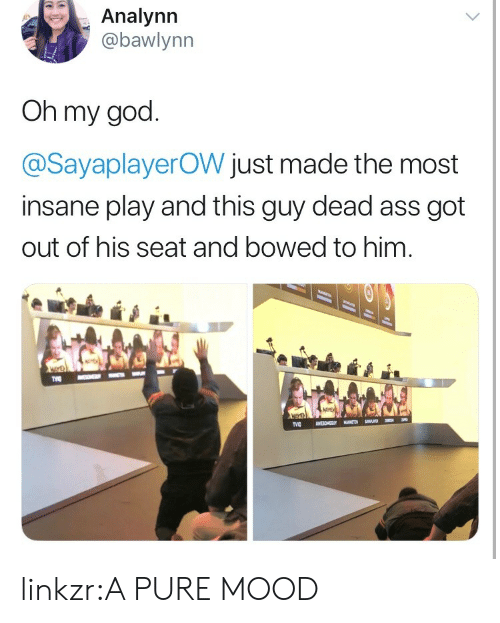 Ass, God, and Mood: Analynn  abawlynn  Oh my god  @SayaplayerOW just made the most  insane play and this guy dead ass got  out of his seat and bowed to him linkzr:A PURE MOOD