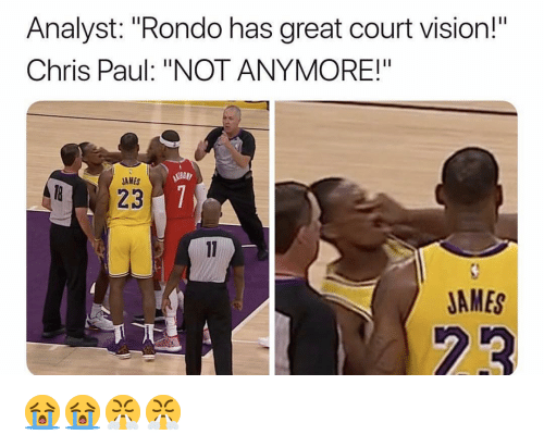 "Chris Paul: Analyst: ""Rondo has great court vision!  Chris Paul: ""NOT ANYMORE!""  AMES  JAMES 😭😭😤😤"