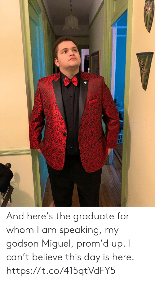 Miguel: And here's the graduate for whom I am speaking, my godson Miguel, prom'd up.  I can't believe this day is here. https://t.co/415qtVdFY5