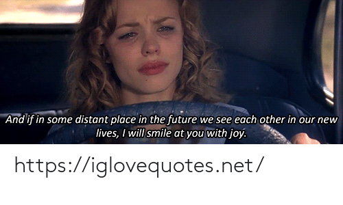 The Future: And if in some distant place in the future we see each other in our new  lives, I will smile at you with joy. https://iglovequotes.net/