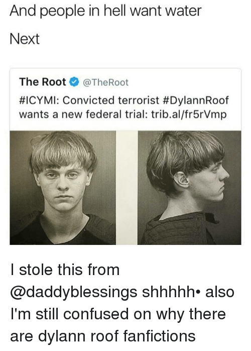 Memes, 🤖, and The Roots: And people in hell want water  Next  The Root  @TheRoot  #ICYMI: Convicted terrorist #DylannRoof  wants a new federal trial: trib.al/fr5rVmp I stole this from @daddyblessings shhhhh• also I'm still confused on why there are dylann roof fanfictions