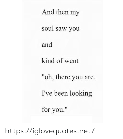 "Saw, Been, and Net: And then my  soul saw you  and  kind of went  ""oh, there you are.  I've been looking  for you."" https://iglovequotes.net/"