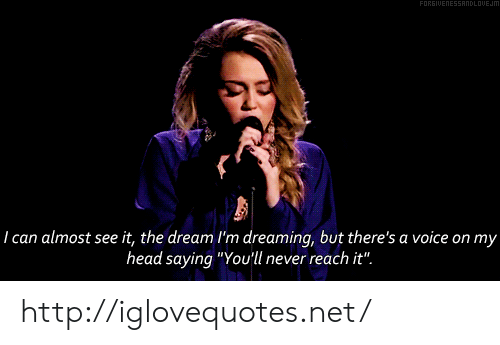 """Head, Http, and Voice: ANDLDUEJm  I can almost see it, the dream I'm dreaming, but there's a voice on my  head saying """"Youll never reach it"""" http://iglovequotes.net/"""