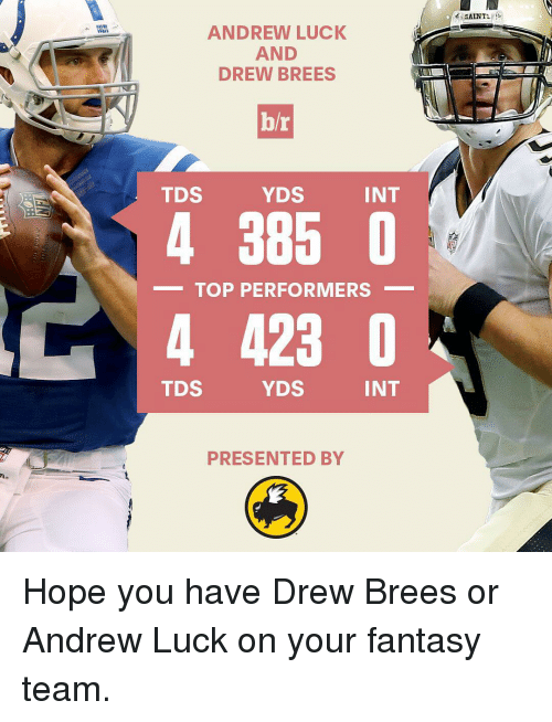 Andrew Luck: ANDREW LUCK  AND  DREW BREES  b/r  INT  YDS  TDS  4 385 0  TOP PERFORMERS  4 423  INT  TDS  YDS  PRESENTED BY  SAINT Hope you have Drew Brees or Andrew Luck on your fantasy team.