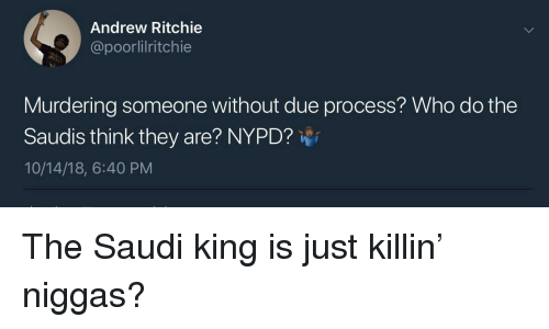 Nypd: Andrew Ritchie  @poorlilritchie  Murdering someone without due process? Who do the  Saudis think they are? NYPD?  10/14/18, 6:40 PM The Saudi king is just killin' niggas?