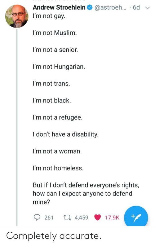 Homeless, Muslim, and Black: Andrew Stroehlein  @astroeh... .6d  I'm not gay.  I'm not Muslim.  I'm not a senior.  I'm not Hungarian.  I'm not trans.  I'm not black  I'm not a refugee.  I don't have a disability.  I'm not a woman  I'm not homeless.  But if I don't defend everyone's rights,  how can I expect anyone to defend  mine?  +  ti 4,459  261  17.9K Completely accurate.