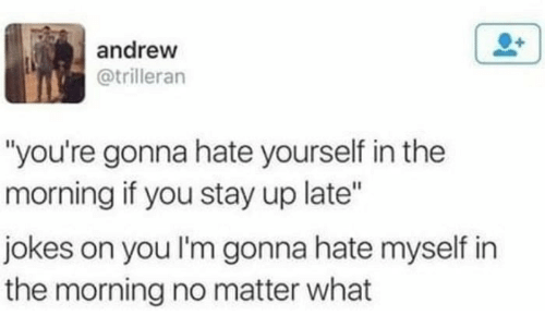 """stay up: andrew  @trilleran  """"you're gonna hate yourself in the  morning if you stay up late""""  jokes on you I'm gonna hate myself in  the morning no matter what"""
