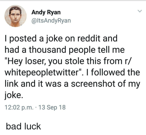 """Bad, Reddit, and Link: Andy Ryan  altsAndyRyan  I posted a joke on reddit and  had a thousand people tell me  """"Hey loser, you stole this from r/  whitepeopletwitter"""". I followed the  link and it was a screenshot of my  joke  12:02 p.m. 13 Sep 18 bad luck"""