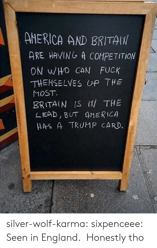 America, England, and Tumblr: ANERICA AND BRITAIN  ARE HAVING A COMPETITION  ON WHO CAN FUCK  THEHSELVES UP THE  MOST  BRITAIN IS I THE  LEAD, BUT AMERICA  HAS A TRUMP CARD. silver-wolf-karma:  sixpenceee:  Seen in England.   Honestly tho