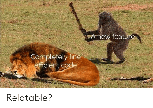 efficient: Anew feature  Completely fine  efficient code Relatable?