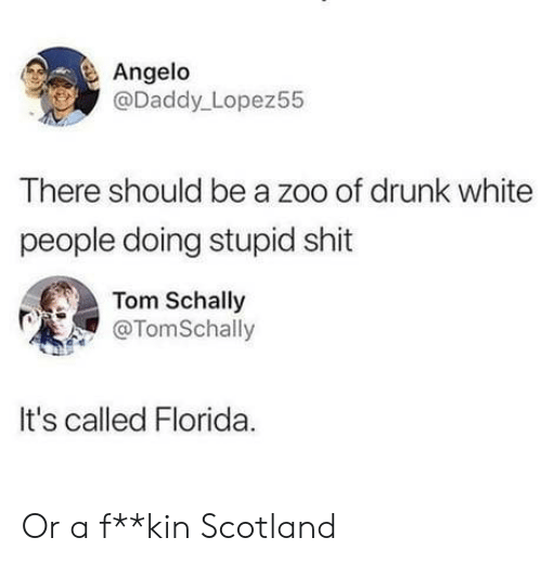 Scotland: Angelo  @Daddy Lopez55  There should be a zoo of drunk white  people doing stupid shit  Tom Schally  @TomSchally  It's called Florida Or a f**kin Scotland