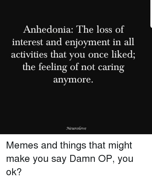 Not Caring: Anhedonia: The loss of  interest and enjoyment in all  activities that you once liked;  the feeling of not caring  anymore  Neurolove Memes and things that might make you say Damn OP, you ok?