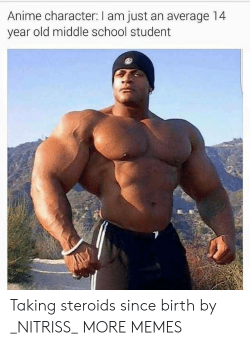 Anime Character: Anime character: I am just an average 14  year old middle school student Taking steroids since birth by _NITRISS_ MORE MEMES