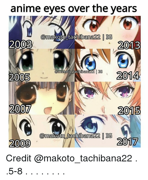 Anime, Memes, and 2009: anime eyes over the years  amakoto tachibana22 IG  2003  2013  12014  amakoto tachibana22  2005  2015  2009  7 Credit @makoto_tachibana22 . .5-8 . . . . . . . .