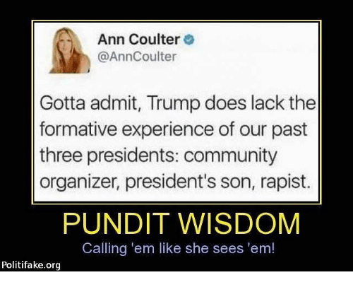 pundit: Ann Coulter  @AnnCoulter  Gotta admit, Trump does lack the  formative experience of our past  three presidents: community  organizer, president's son, rapist.  PUNDIT WISDOM  Calling 'em like she sees 'em!  Politifake.org