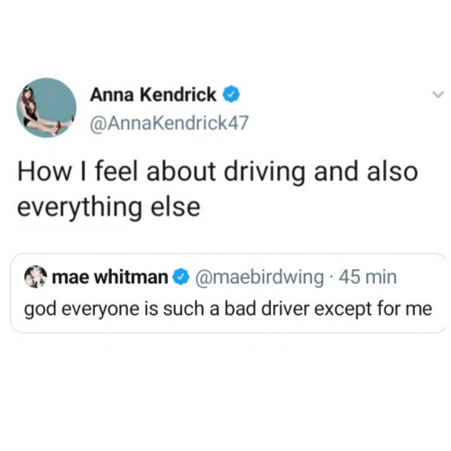 Driving: Anna Kendrick  @AnnaKendrick47  How I feel about driving and also  everything else  mae whitman O @maebirdwing · 45 min  god everyone is such a bad driver except for me