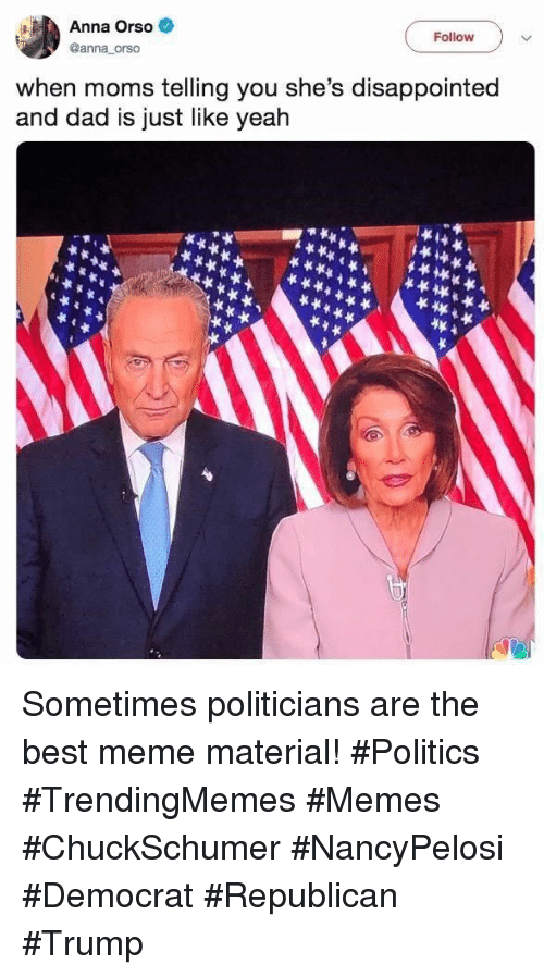 Anna, Dad, and Disappointed: Anna Orso  Follow  @anna orso  when moms telling you she's disappointed  and dad is just like yeah Sometimes politicians are the best meme material! #Politics #TrendingMemes #Memes #ChuckSchumer #NancyPelosi #Democrat #Republican #Trump