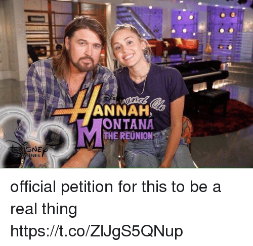 Girl Memes, Thing, and Reunion: ANNAH  ONTANA  THE REUNION official petition for this to be a real thing https://t.co/ZlJgS5QNup