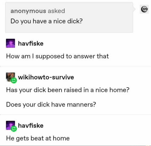Home: anonymous asked  Do you have a nice dick?  havfiske  How am I supposed to answer that  wikihowto-survive  Has your dick been raised in a nice home?  Does your dick have manners?  havfiske  He gets beat at home