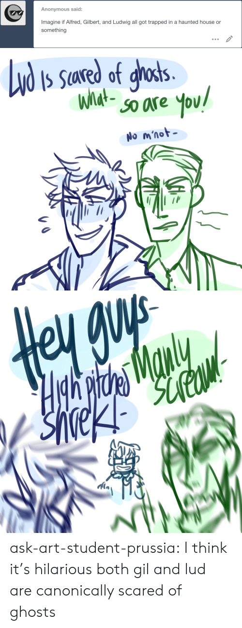 Alfred: Anonymous said:  Imagine if Alfred, Gilbert, and Ludwig all got trapped in a haunted house or  something   Nd  S Sared of ghosts.  What-  SO are  You!  No m'not   Hgh pitde Manly ask-art-student-prussia:  I think it's hilarious both gil and lud are canonically scared of ghosts