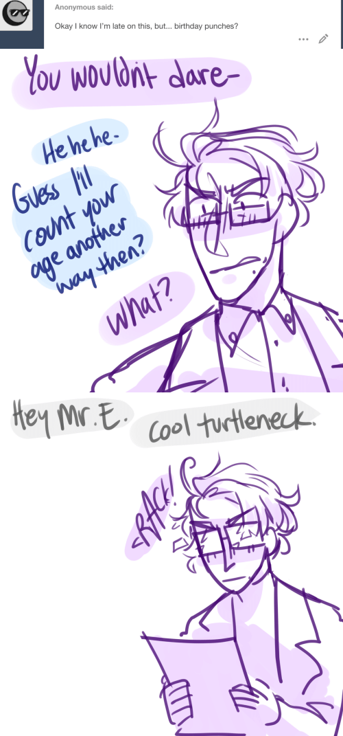 Birthday, Anonymous, and Cool: Anonymous said:  Okay I know I'm late on this, but... birthday punches?  ID   You Wouldnt dare  He he he  Guess  COunt yow  age anofher  Way then?  What?   Hey Mr E  Cool turtleneck  RACH