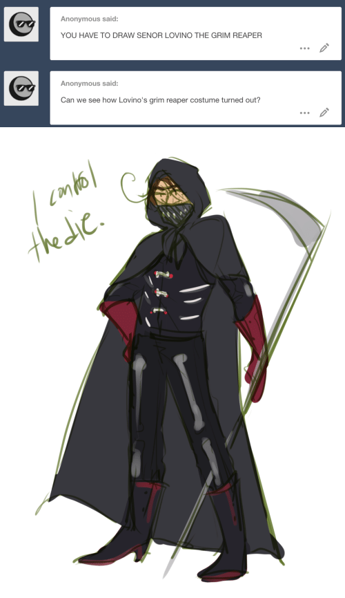 grim reaper: Anonymous said:  YOU HAVE TO DRAW SENOR LOVINO THE GRIM REAPER  Anonymous said:  Can we see how Lovino's grim reaper costume turned out?   tkdc.
