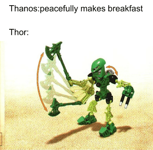 Breakfast, Thor, and Anos: anos:peacefully makes breakfast  Thor.
