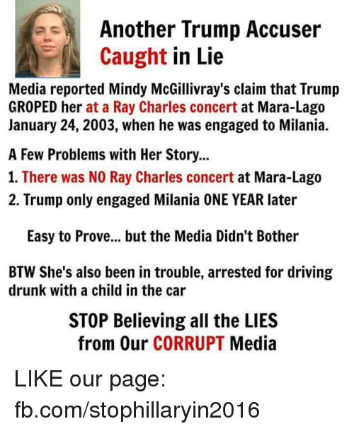 groping: Another Trump Accuser  Caught  in Lie  Media reported Mindy McGillivray's claim that Trump  GROPED her at a Ray Charles concert at Mara-Lago  January 24, 2003, when he was engaged to Milania.  A Few Problems with Her Story...  1. There was NO Ray Charles concert  at Mara-Lago  2. Trump only engaged Milania ONE YEAR later  Easy to Prove... but the Media Didn't Bother  BTW She's also been in trouble, arrested for driving  drunk with a child in the car  STOP Believing all the LIES  from Our CORRUPT  Media LIKE our page: fb.com/stophillaryin2016