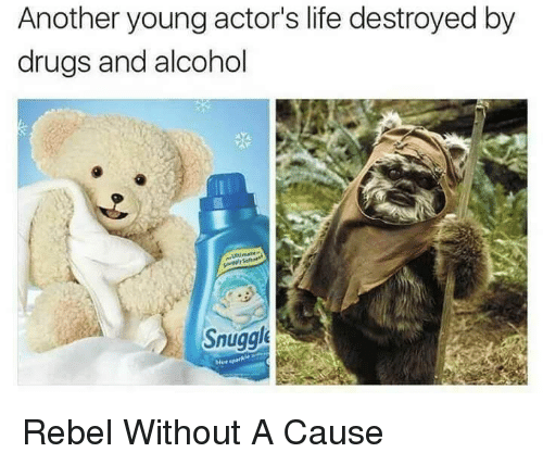 Rebel Without a Cause: Another young actor's life destroyed by  drugs and alcohol  Snuggl  blue <p>Rebel Without A Cause</p>