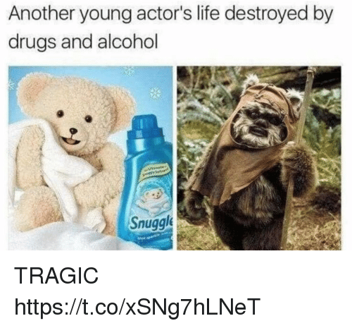 Drugs And Alcohol: Another young actor's life destroyed by  drugs and alcohol  Snuggl TRAGIC https://t.co/xSNg7hLNeT