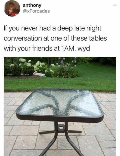 Dank, Friends, and Wyd: anthony  @xForcades  If you never had a deep late night  conversation at one of these tables  with your friends at 1AM, wyd