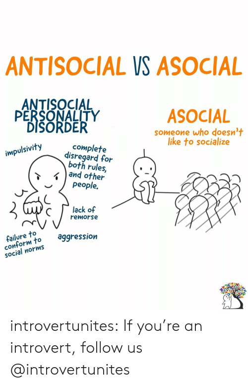 an introvert: ANTISOCIAL VS ASOCIAL  ANTISOCIAL  PERSONALITY  DISORDER  ASOCIAL  someone who doesn't  like to socialize  complete  disregard for  both rules,  and other  people.  impulsivity  lack of  remorse  failure to  conform to  SOcial norms  aggression introvertunites:  If you're an introvert, follow us @introvertunites​