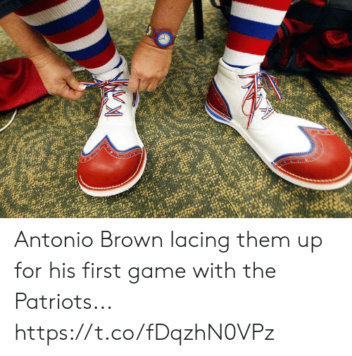 Football, Nfl, and Patriotic: Antonio Brown lacing them up for his first game with the Patriots... https://t.co/fDqzhN0VPz
