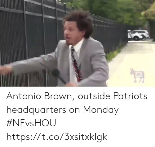 Antonio: Antonio Brown, outside Patriots headquarters on Monday #NEvsHOU https://t.co/3xsitxklgk