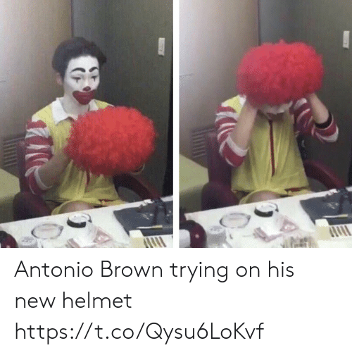 Football, Nfl, and Sports: Antonio Brown trying on his new helmet https://t.co/Qysu6LoKvf