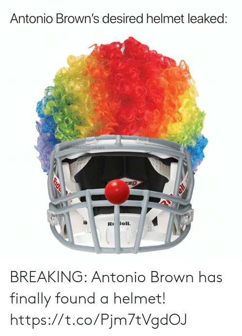 Football, Nfl, and Sports: Antonio Brown's desired helmet leaked:  @FUNNIESTNFLMEMES  ED  R ell.  Ride BREAKING: Antonio Brown has finally found a helmet! https://t.co/Pjm7tVgdOJ