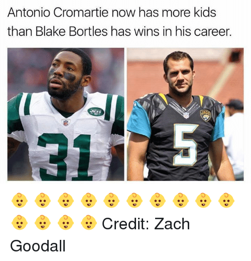 Antonio Cromartie, Nfl, and Kids: Antonio Cromartie now has more kids  than Blake Bortles has wins in his career.  JAC 👶 👶 👶 👶 👶 👶 👶 👶 👶 👶 👶 👶 👶 👶 Credit: Zach Goodall