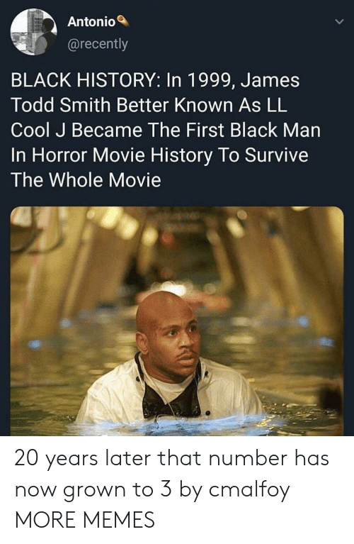 Black History: Antonio  @recently  BLACK HISTORY: In 1999, James  Todd Smith Better Known As LL  Cool J Became The First Black Man  In Horror Movie History To Survive  The Whole Movie 20 years later that number has now grown to 3 by cmalfoy MORE MEMES